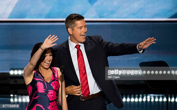 Sean Duffy RWisc and his wife Rachel CamposDuffy speak during the 2016 Republican National Convention in Cleveland Ohio on Monday July 18 2016
