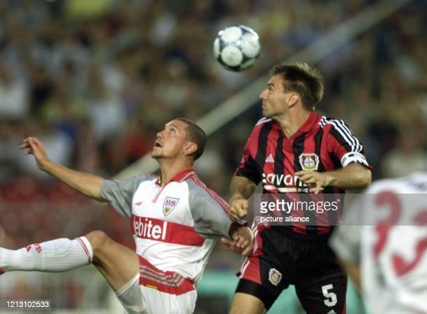 Sean Dundee vom VfB Stuttgart in einer Spielszene mit Jens Nowotny von Bayer 04 Leverkusen bei einer Erstbundesligabegegnung der beiden Vereine am im...