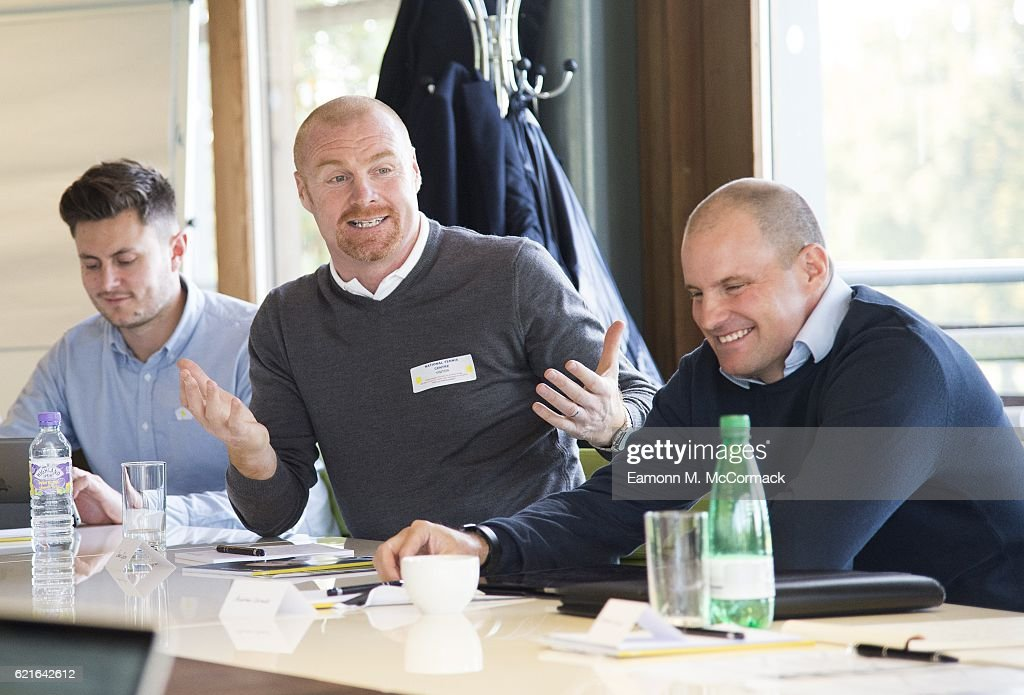 Sean Dyche and Andrew Strauss during the Leaders P8 Summit at the National Tennis Centre on November 7, 2016 in London, England.