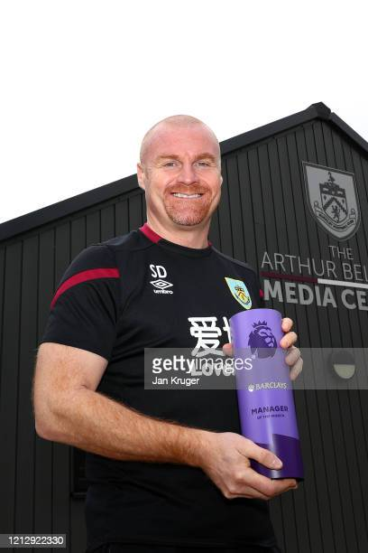 Sean Dyche is presented with the Premier League Manager of the Month award for February at Burnley FC Training ground Gawthorpe on March 12 2020 in...