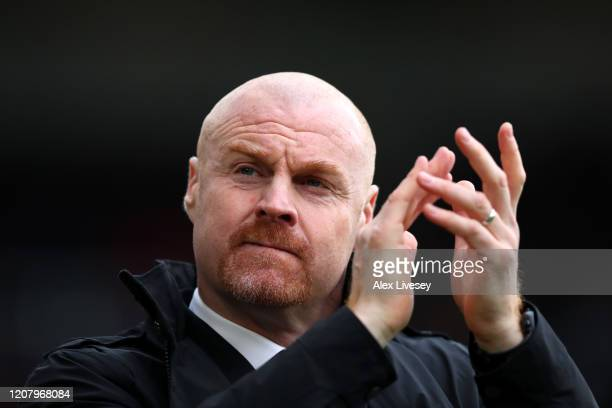 Sean Dyche Manager of Burnley applauds fans prior to the Premier League match between Burnley FC and AFC Bournemouth at Turf Moor on February 22 2020...
