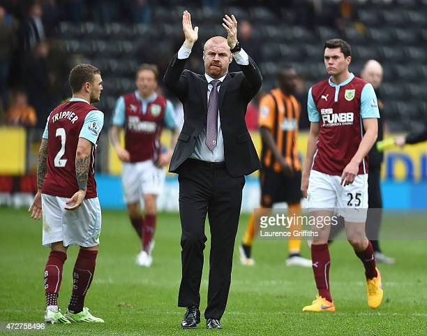 Sean Dyche manager of Burnley applauds the fans after his team were relegated after the Barclays Premier League match between Hull City and Burnley...