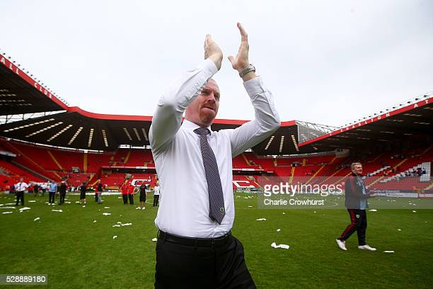 Sean Dyche manager of Burnley applauds the supporters after after the Sky Bet Championship match between Charlton Athletic and Burnley on May 7 2016...