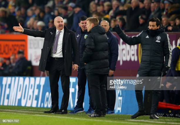 Sean Dyche Manager of Burnley argues with the fourth offical during the Premier League match between Burnley and Manchester United at Turf Moor on...