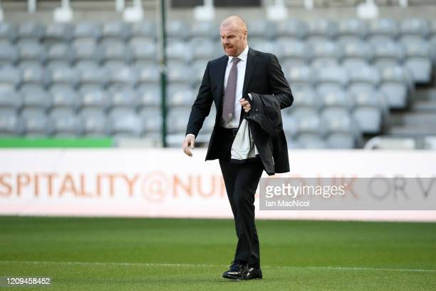 Sean Dyche Manager of Burnley arrives prior to the Premier League match between Newcastle United and Burnley FC at St James Park on February 29 2020...