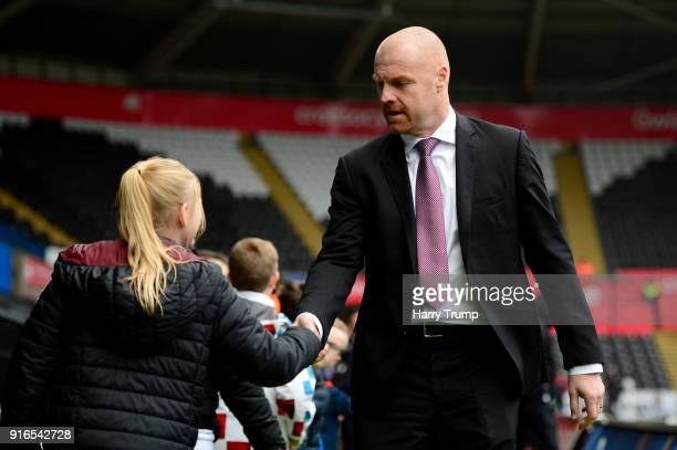 Sean Dyche Manager of Burnley arrives prior to the Premier League match between Swansea City and Burnley at Liberty Stadium on February 10 2018 in...