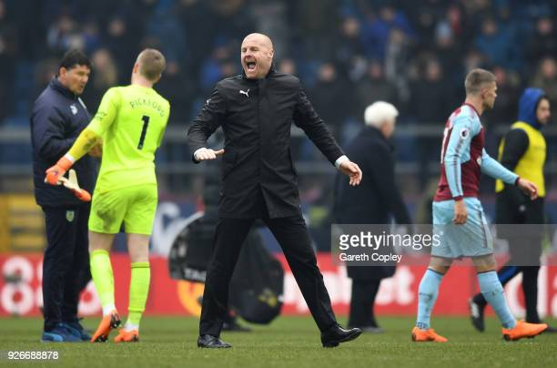 Sean Dyche, Manager of Burnley celebrates after the Premier League match between Burnley and Everton at Turf Moor on March 3, 2018 in Burnley,...