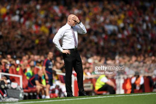 Sean Dyche Manager of Burnley during the Premier League match between Arsenal FC and Burnley FC at Emirates Stadium on August 17 2019 in London...