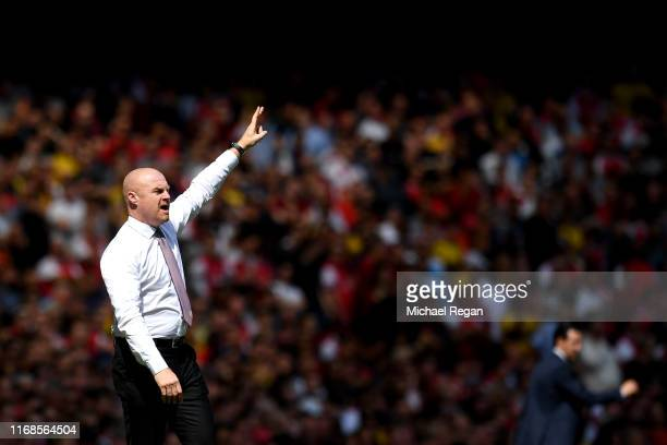 Sean Dyche, Manager of Burnley during the Premier League match between Arsenal FC and Burnley FC at Emirates Stadium on August 17, 2019 in London,...