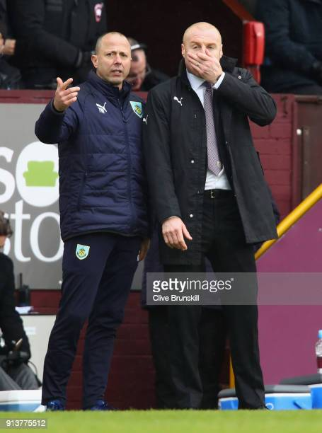 Sean Dyche Manager of Burnley during the Premier League match between Burnley and Manchester City at Turf Moor on February 3 2018 in Burnley England