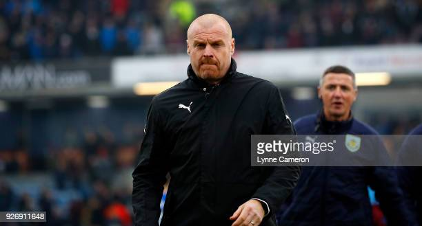 Sean Dyche manager of Burnley during the Premier League match between Burnley and Everton at Turf Moor on March 3 2018 in Burnley England