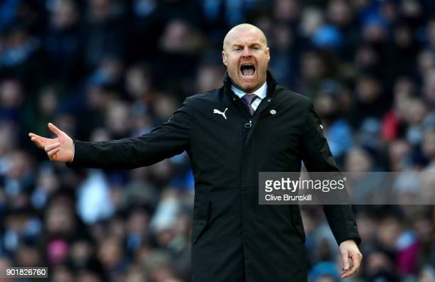 Sean Dyche Manager of Burnley during the The Emirates FA Cup Third Round match between Manchester City and Burnley at Etihad Stadium on January 6...