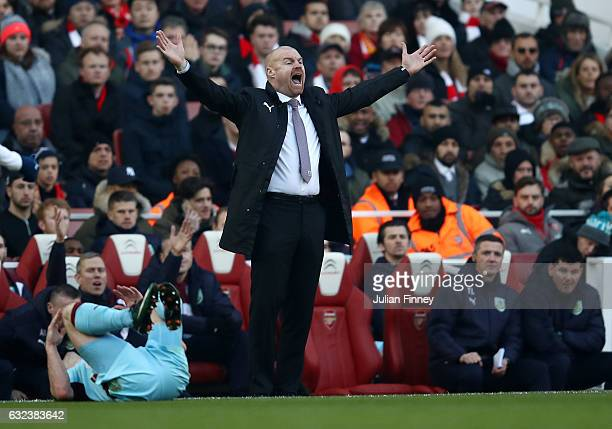 Sean Dyche Manager of Burnley gestures during the Premier League match between Arsenal and Burnley at the Emirates Stadium on January 22 2017 in...