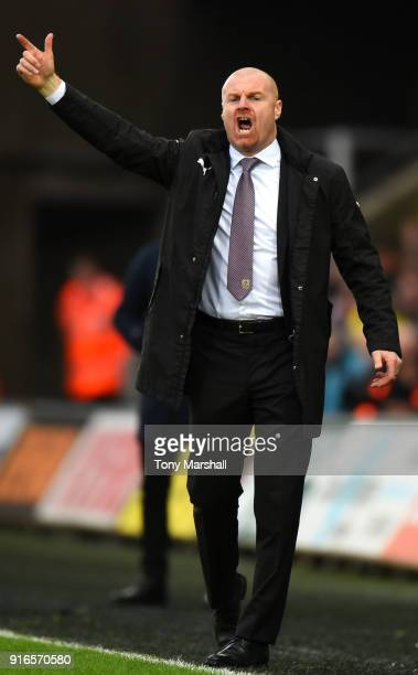 Sean Dyche Manager of Burnley gives his team instructions during the Premier League match between Swansea City and Burnley at Liberty Stadium on...