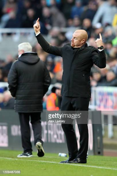 Sean Dyche Manager of Burnley gives team instreuctions during the Premier League match between Newcastle United and Burnley FC at St James Park on...