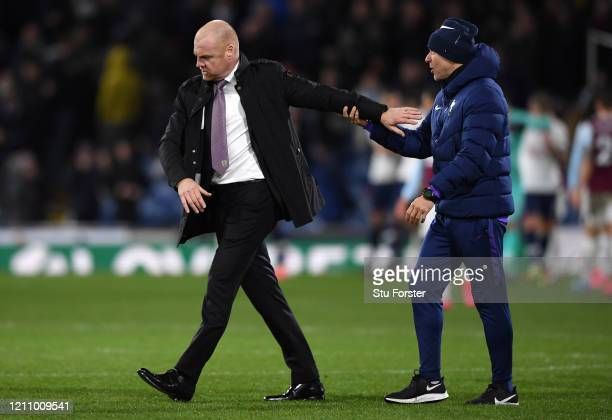 Sean Dyche Manager of Burnley leaves the field after the Premier League match between Burnley FC and Tottenham Hotspur at Turf Moor on March 07 2020...