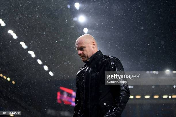 Sean Dyche, Manager of Burnley looks dejected as he walks off the pitch after the Premier League match between Burnley and West Ham United at Turf...
