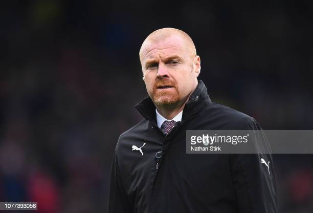Sean Dyche Manager of Burnley looks on ahead of the FA Cup Third Round match between Burnley and Barnsley at Turf Moor on January 5 2019 in Burnley...