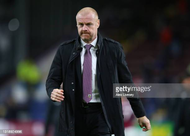 Sean Dyche, Manager of Burnley looks on as he leaves the pitch following the Premier League match between Burnley and Liverpool at Turf Moor on May...
