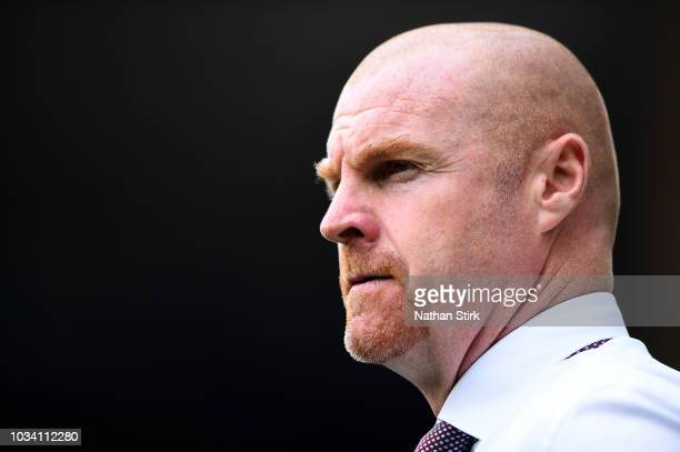 Sean Dyche Manager of Burnley looks on during the Premier League match between Wolverhampton Wanderers and Burnley FC at Molineux on September 16...