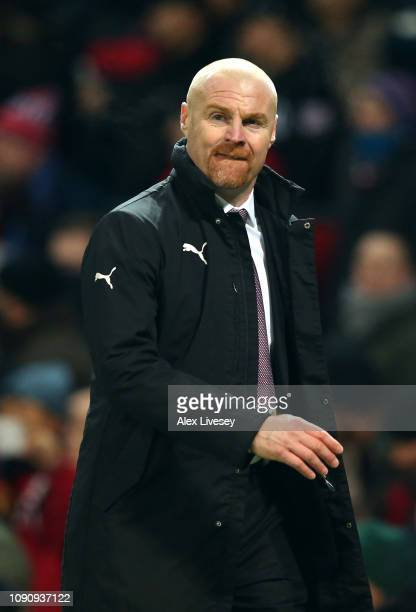 Sean Dyche Manager of Burnley looks on during the Premier League match between Manchester United and Burnley at Old Trafford on January 29 2019 in...