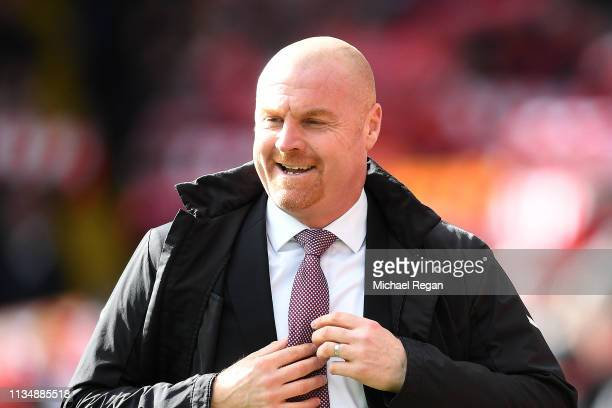 Sean Dyche manager of Burnley looks on during the Premier League match between Liverpool FC and Burnley FC at Anfield on March 10 2019 in Liverpool...