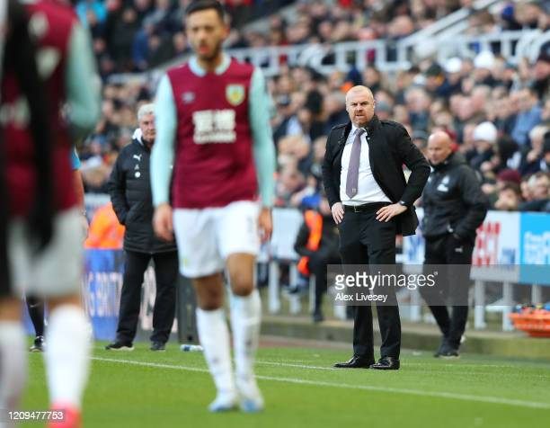 Sean Dyche Manager of Burnley looks on during the Premier League match between Newcastle United and Burnley FC at St James Park on February 29 2020...
