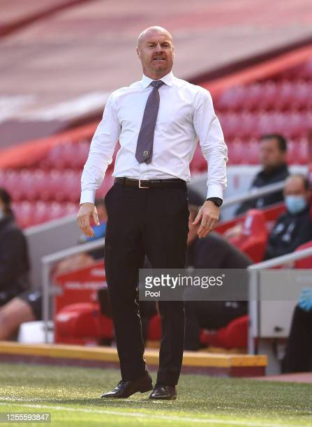 Sean Dyche Manager of Burnley looks on during the Premier League match between Liverpool FC and Burnley FC at Anfield on July 11 2020 in Liverpool...
