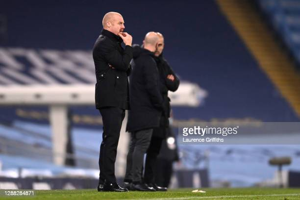 Sean Dyche Manager of Burnley looks on during the Premier League match between Manchester City and Burnley at Etihad Stadium on November 28 2020 in...