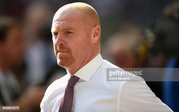 Sean Dyche Manager of Burnley looks on during the Premier League match between Tottenham Hotspur and Burnley at Wembley Stadium on August 27 2017 in...
