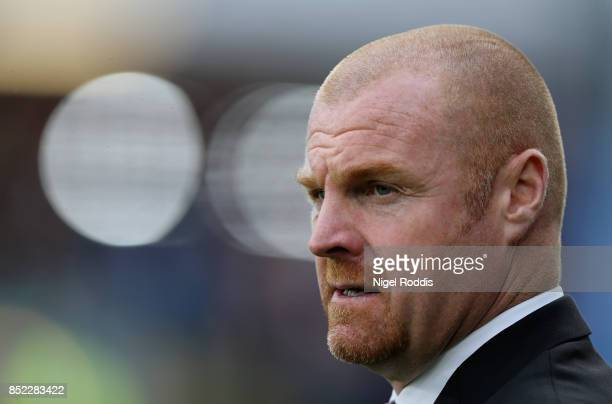 Sean Dyche Manager of Burnley looks on during the Premier League match between Burnley and Huddersfield Town at Turf Moor on September 23 2017 in...