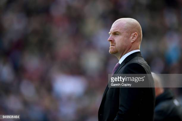 Sean Dyche Manager of Burnley looks on during the Premier League match between Stoke City and Burnley at Bet365 Stadium on April 22 2018 in Stoke on...