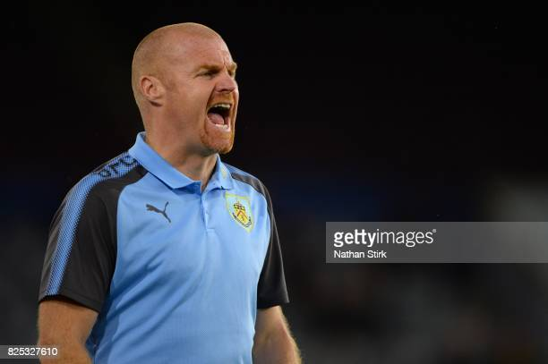 Sean Dyche manager of Burnley looks on during the preseason friendly match between Burnley and Celta Vigo at Turf Moor on August 1 2017 in Burnley...
