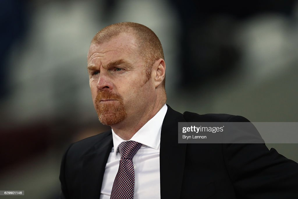Sean Dyche, Manager of Burnley looks on prior to kick off at the Premier League match between West Ham United and Burnley at London Stadium on December 14, 2016 in Stratford, England.