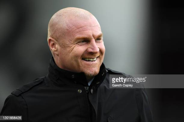 Sean Dyche Manager of Burnley looks on prior to the FA Cup Fourth Round match between Burnley FC and Norwich City at Turf Moor on January 25 2020 in...