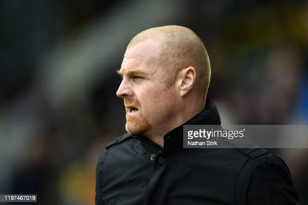 Sean Dyche Manager of Burnley looks on prior to the FA Cup Third Round match between Burnley FC and Peterborough United at Turf Moor on January 04...