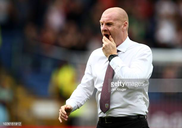 Sean Dyche Manager of Burnley looks on prior to the Premier League match between Burnley FC and Manchester United at Turf Moor on September 2 2018 in...