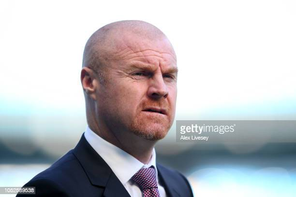 Sean Dyche Manager of Burnley looks on prior to the Premier League match between Manchester City and Burnley FC at Etihad Stadium on October 20 2018...