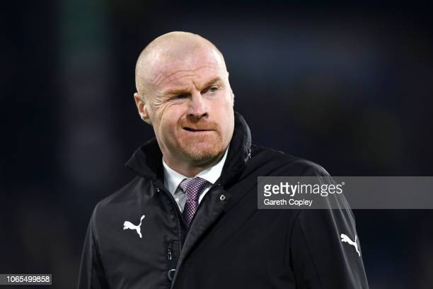 Sean Dyche Manager of Burnley looks on prior to the Premier League match between Burnley FC and Newcastle United at Turf Moor on November 26 2018 in...