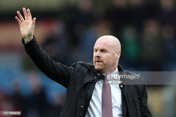 Sean Dyche Manager of Burnley looks on prior to the Premier League match between Burnley FC and AFC Bournemouth at Turf Moor on February 22 2020 in...