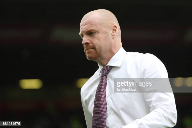 Sean Dyche Manager of Burnley looks on prior to the Premier League match between Burnley and West Ham United at Turf Moor on October 14 2017 in...