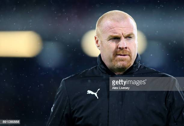 Sean Dyche Manager of Burnley looks on prior to the Premier League match between Burnley and Stoke City at Turf Moor on December 12 2017 in Burnley...
