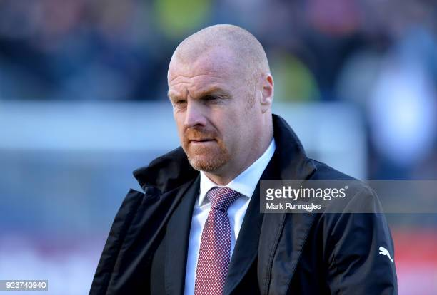 Sean Dyche Manager of Burnley looks on prior to the Premier League match between Burnley and Southampton at Turf Moor on February 24 2018 in Burnley...