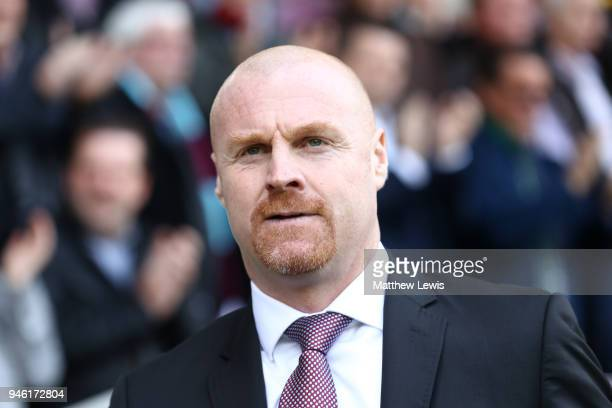 Sean Dyche Manager of Burnley looks on prior to the Premier League match between Burnley and Leicester City at Turf Moor on April 14 2018 in Burnley...