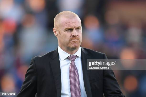 Sean Dyche Manager of Burnley looks on prior to the Premier League match between Burnley and Chelsea at Turf Moor on April 19 2018 in Burnley England