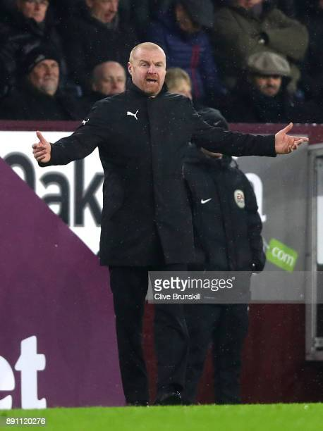 Sean Dyche Manager of Burnley makes a point during the Premier League match between Burnley and Stoke City at Turf Moor on December 12 2017 in...