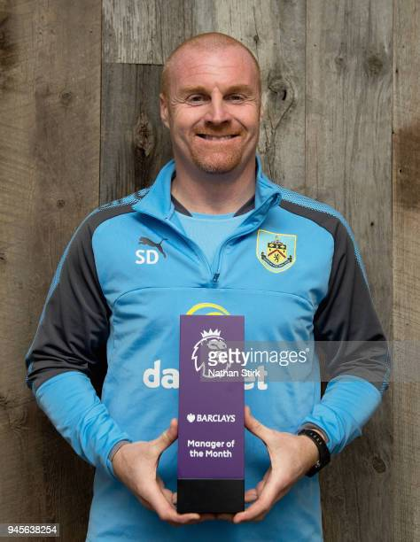 Sean Dyche, Manager of Burnley poses with the Barclays Manager of the Month Award for March 2018 on April 12, 2018 in Burnley, England.