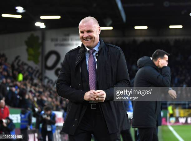 Sean Dyche Manager of Burnley prior to the Premier League match between Burnley FC and Tottenham Hotspur at Turf Moor on March 07 2020 in Burnley...