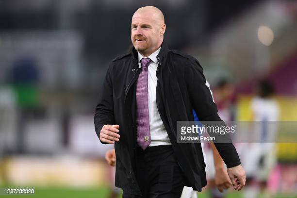 Sean Dyche, Manager of Burnley reacts after the Premier League match between Burnley and Crystal Palace at Turf Moor on November 23, 2020 in Burnley,...