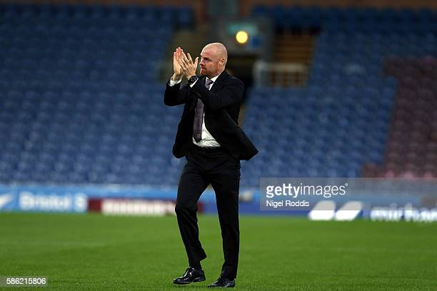 Sean Dyche manager of Burnley reacts after the PreSeason Friendly match between Burnley and Real Sociedad at Turf Moor on August 5 2016 in Burnley...